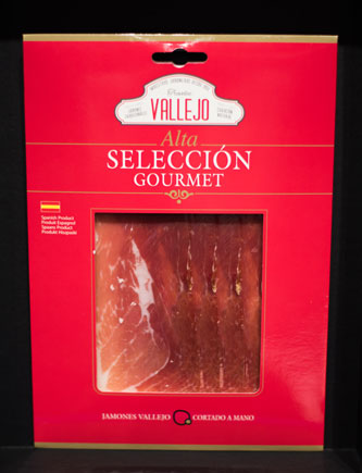 Envase Jamón Vallejo Gourmet. Producto envasado al vacío para saber como conservar un buen jamón